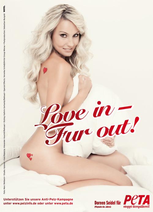 Sexy Pelzprotest von Playmate Doreen Seidel zum Valentinstag